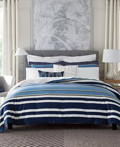 CLOSEOUT! Tommy Hilfiger Robinson Stripe Twin Duvet Cover Set