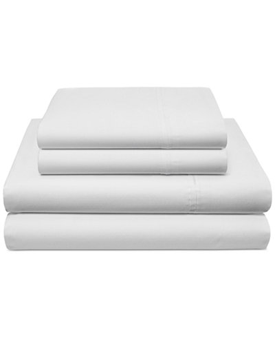 CLOSEOUT! Tommy Hilfiger Robinson Cotton Herringbone White Full Sheet Set