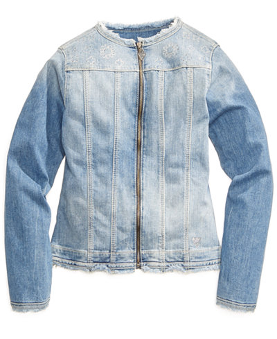 GUESS Embroidered Denim Jacket, Big Girls (7-16)