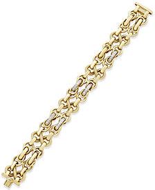 Diamond Link Bracelet (3/4 ct. t.w.) in 14k Gold-Plated Sterling Silver