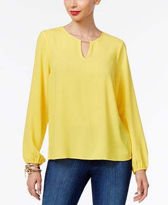Thalia Sodi Pleated Hardware Blouse, Only at Macy's