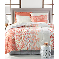 Ashley Reversible 8-Piece Queen Bedding Ensemble (Coral)