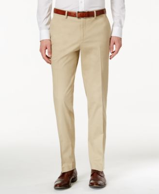 Men's Slim-Fit Tan Stretch Pants, Created for Macy's