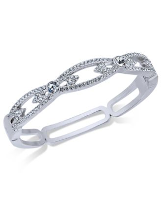 Image of Charter Club Silver-Tone Pavé Hinged Bangle Bracelet, Created for Macy's
