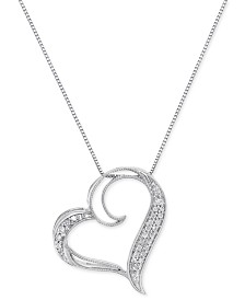 Diamond Floating Heart Pendant Necklace (1/6 ct. t.w.) in Sterling Silver