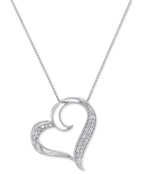 Macy's Diamond Floating Heart Pendant Necklace (1/6 ct. t.w.) in Sterling Silver