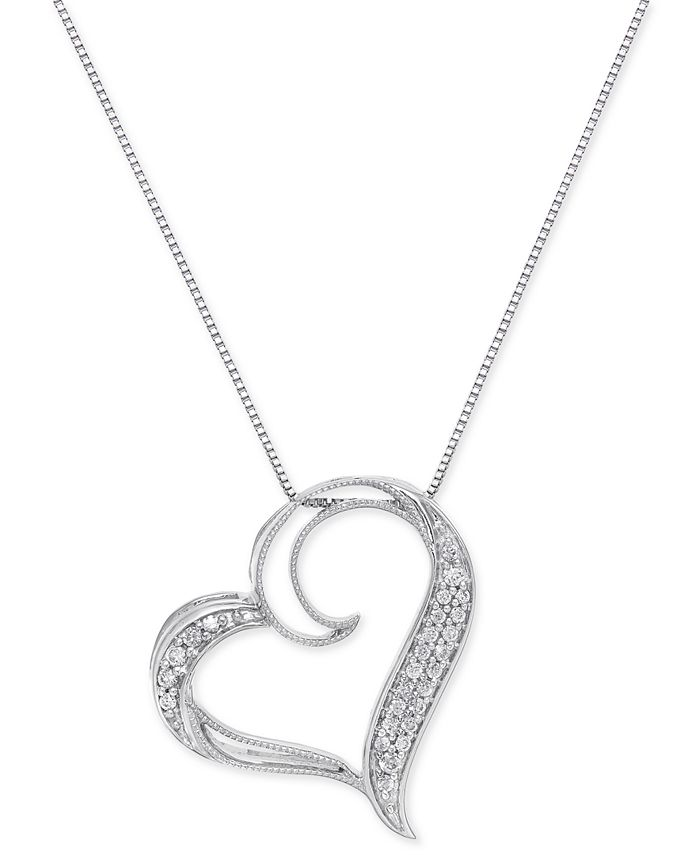 Macy's - Diamond Floating Heart Pendant Necklace (1/6 ct. t.w.) in Sterling Silver