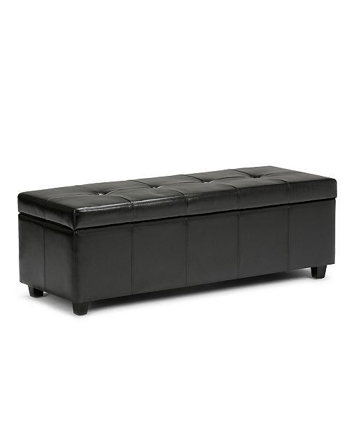 Simpli Home Chamberlain Faux Leather Storage Ottoman