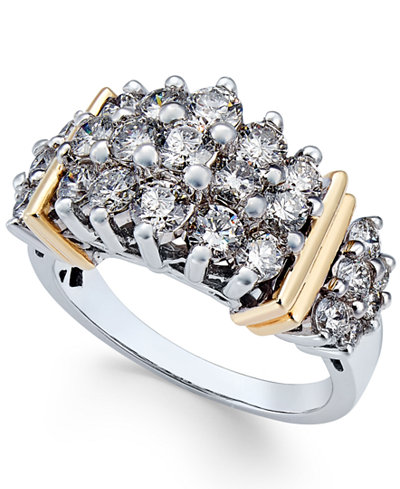 Diamond Cluster Ring (2 ct. t.w.) in 14k Two-Tone Gold