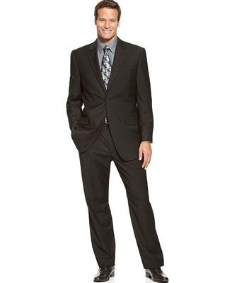 IZOD Two-Button Black Solid Suit - Suits & Suit Separates - Men ...