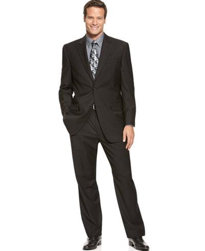IZOD Two-Button Black Solid Suit - Suits & Suit Separates - Men ...