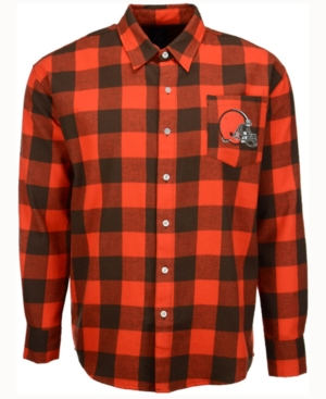 Men's Cleveland Browns Large Check Flannel Button Down Shirt