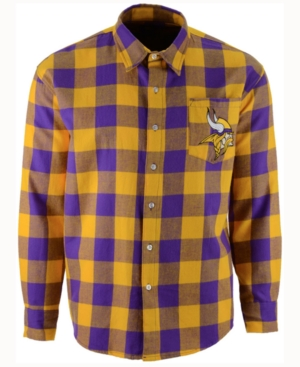 Men's Minnesota Vikings Large Check Flannel Button Down Shirt