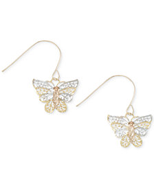 Tri-Tone Openwork Butterfly Drop Earrings in 10k Gold, White Gold and Rose Gold