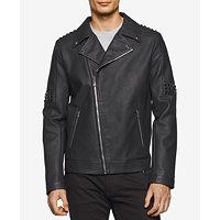 Calvin Klein Faux-Leather Asymmetric Moto Men's Jacket (Black)