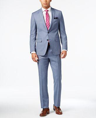 Tallia Men's Slim-Fit Light Blue Sharkskin Suit - Suits & Suit ...