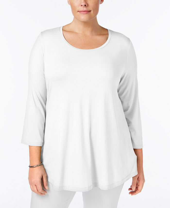 JM Collection - Plus Size Three-Quarter Sleeve Top