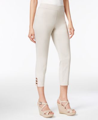 Image of JM Collection Pull-On Lattice-Inset Capri Pants, Only at Macy's