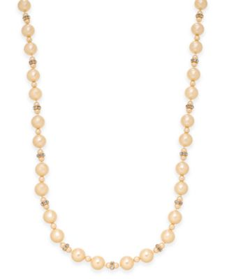 Image of Charter Club Pavé and Imitation Pearl Necklace, Created for Macy's