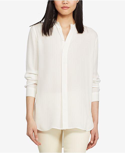 db286e534063f Polo Ralph Lauren Banded-Collar Silk Shirt   Reviews - Tops ...