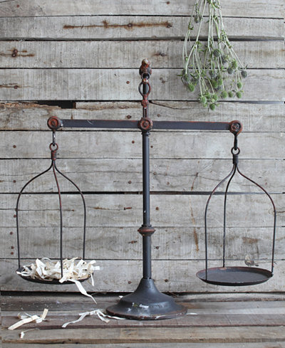 Decorative Iron Scale with Bird Accent