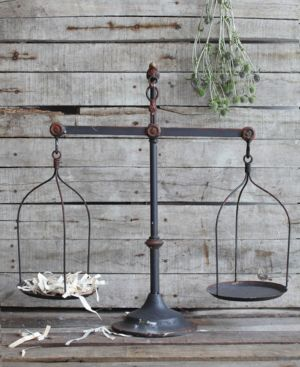 Image of Decorative Iron Scale with Bird Accent