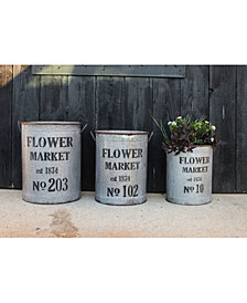 Flower Market 3-Pc. Round Bucket Set