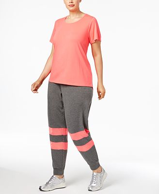 Material Girl Active Plus Size Strappy-Back Top & Mesh-Trim Jogger Pants, Only at Macy's