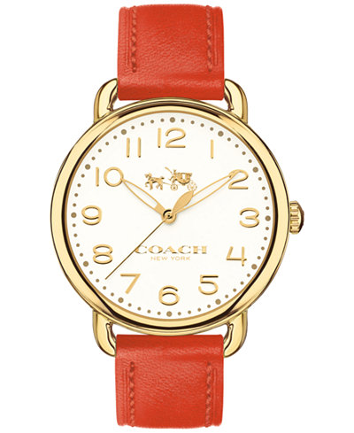 COACH Women's Delancey Coral Leather Strap Watch 36mm 14502719