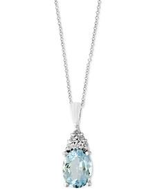EFFY® Aquarius Aquamarine (1-3/4 ct. t.w.) and Diamond Accent Pendant Necklace in 14k White Gold