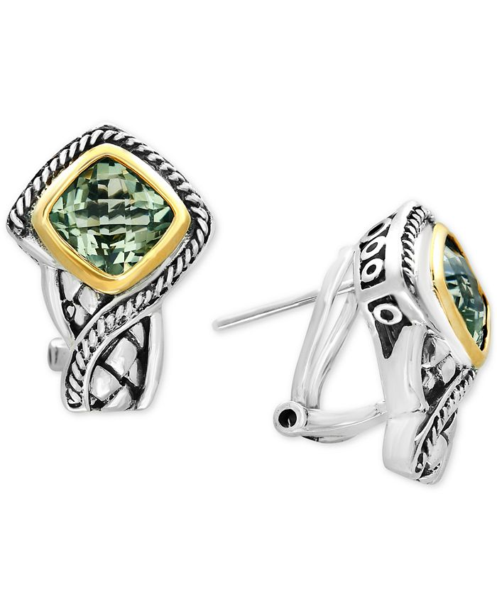 EFFY Collection - Green Quartz Stud Earrings (3 ct. t.w.) in Sterling Silver and 18k Gold