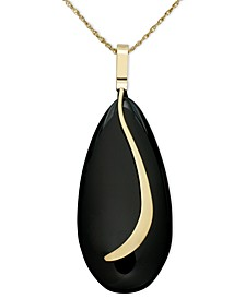 14k Gold Necklace, Onyx Almond Sweep Pendant
