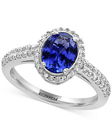 EFFY® Tanzanite Royalé Tanzanite (1-1/8 ct. t.w.) and Diamond (1/3 ct. t.w.) Ring in 14k White Gold, Created for Macy's