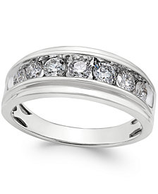 Men's Diamond Band (1 ct. t.w.) in 10k White Gold