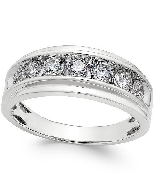Macy's Men's Diamond Band (1 ct. t.w.) in 10k White Gold