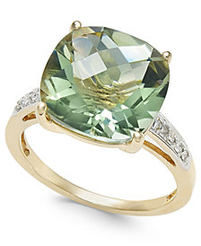 Green Quartz (6-1/4 ct. t.w.) and Diamond Accent Ring in 14k Gold
