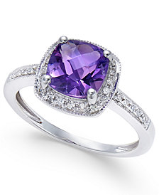 Amethyst (1-1/5 ct. t.w.) and Diamond (1/10 ct. t.w.) Ring in 14k White Gold