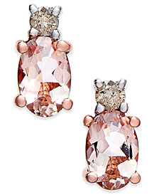 Morganite (9/10 ct. t.w.) and Diamond (1/10 ct. t.w.) Drop Earrings in 14k Rose Gold