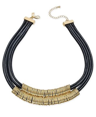 INC International Concepts Gold-Tone Black Braided Nylon Cord Double Row Necklace, Created for Macy's