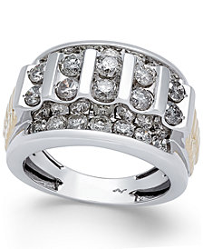 Men's Diamond Cluster Two-Tone Ring (3 ct. t.w.) in 10k Gold and White Gold
