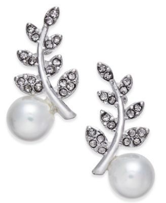 Image of INC International Concepts Silver-Tone Pavé and Imitation Crystal Ear Climber Earrings, Created for