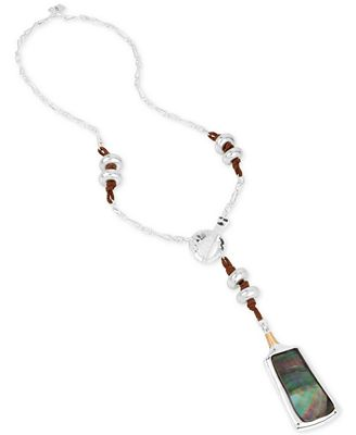Robert Lee Morris Soho Silver-Tone Brown Suede Large Stone Pendant Necklace