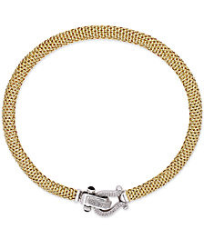 Diamond Horseshoe Clasp Mesh Necklace (5/8 ct. t.w.) in 14k Gold-Plated Sterling Silver