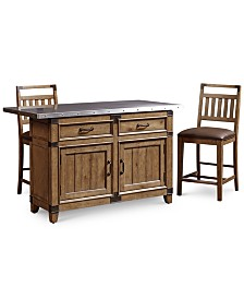 Metalworks Kitchen Island 3 Pc Set 2 Pub Chairs