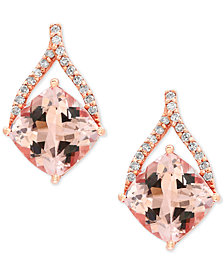 EFFY® Blush Morganite (2-2/3 ct. t.w.) and Diamond (1/8 ct. t.w.) Drop Earrings in 14k Rose Gold