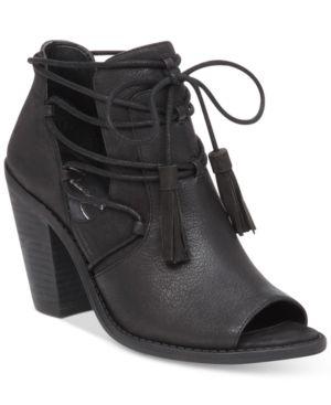 Jessica Simpson Ceri Tassel-Tie Peep-Toe Booties Women