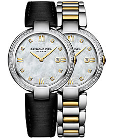 RAYMOND WEIL Women's Swiss Shine Diamond (1/3 ct. t.w.) Two-Tone PVD Stainless Steel Bracelet Watch with Interchangeable Black Satin Strap 32mm 1600-SPS-00995