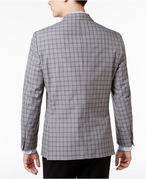 76cd0d794cb Tommy Hilfiger Men s Slim-Fit Gray Plaid Sport Coat   Reviews ...