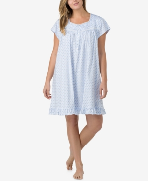 Eileen West Plus Size Lace-Trimmed Printed Cotton Nightgown