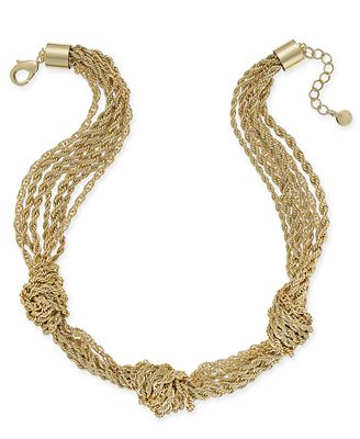 Charter Club Gold-Tone Multi-Layer Knotted Necklace, Created for Macy's
